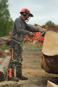 Andy cutting wood!