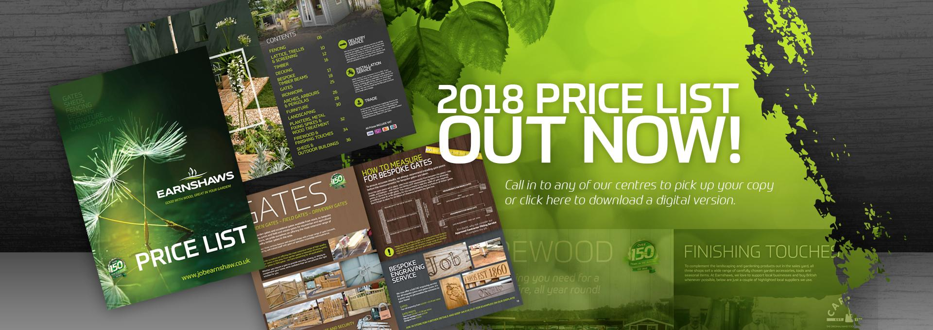 New 2018 Price List Out Now