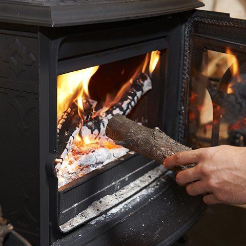 firewood in a wood burning fire earnshaws