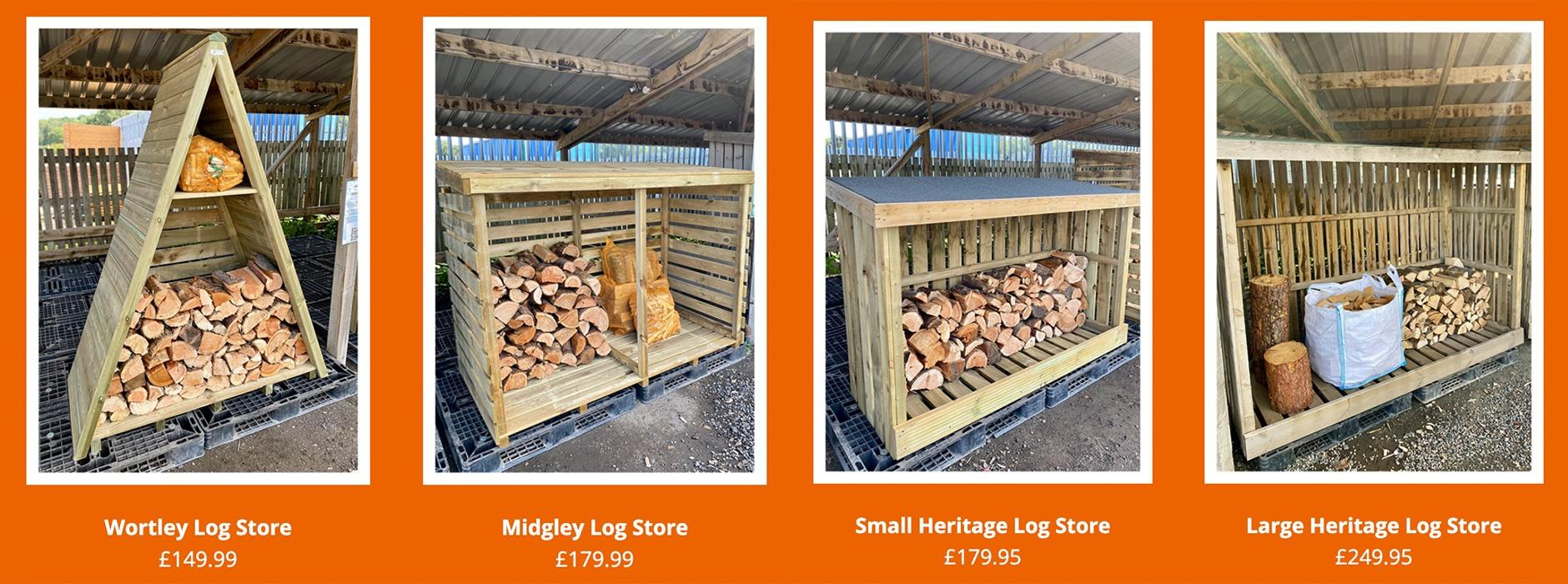 Timber log stores available from Earnshaws