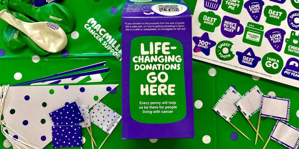 EFC Macmillan donation box